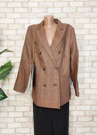 """Фирменный autograph шикарный пиджак/жакет со 100 % льна цвета """"шоколад"""", размер 2-3хл"""