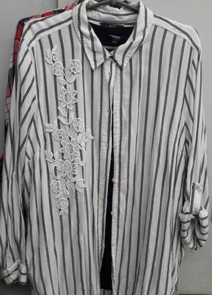 Женская рубашка полоска удлиненная
