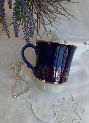 Чашка большая довбыш кобальтовая роспись позолота довбышевский фарфоровый ссср советская винтаж