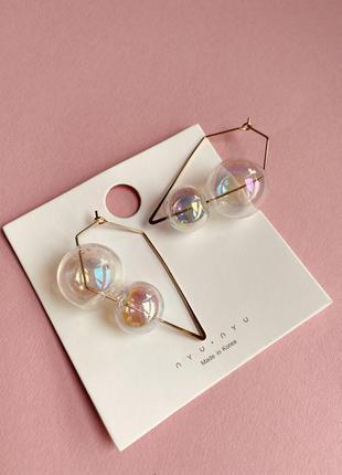 Дизайнерские серьги cо стеклянными прозрачными шарами под cos / большая распродажа!