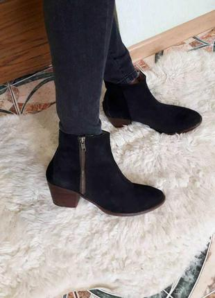 Натуральная замша ботинки ботильоны черные португалия