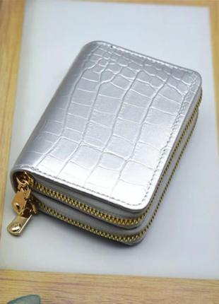 Новый двойной компактный серебристый лаковый картхолдер серебро визитница для карточек рептилия