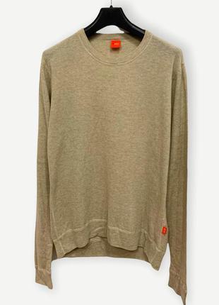 Легкий свитер свитшот hugo boss лонгслив оригинал бежевий