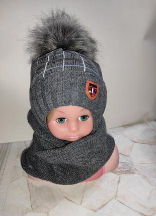 Шапка хомут теплый зимний набор для малышей грудничков ambra