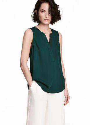 Элегантная зелёная изумрудная блуза h&m