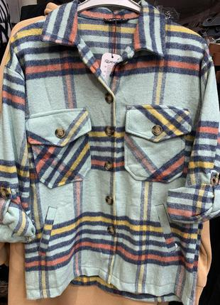 Теплая стильная байковая рубашка хс с м л