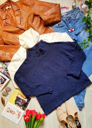 Хлопковый свитер синий базовый оверсайз свободный крой