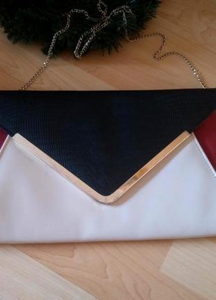 Шикарный вечерний клач сумка из качественного кожзама от look