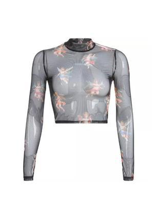 🔗прозрачная черная блуза мештоп блуза-сетка сетчатая блуза в ангелах
