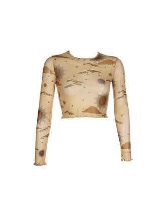 🔗прозрачная песочная блуза мештоп блуза-сетка сетчатая блуза с солнцами