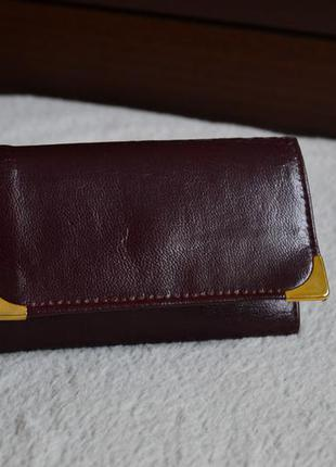 Кожаная винтажная ключница кошелек бумажник