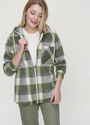 Стильная тёплая флисовая кофта рубашка