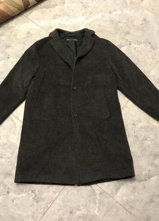 Срочная распродажа! черно серое шерстяное пальто с начесом новое