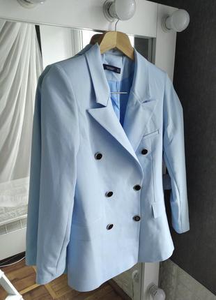 Ограничено! нежно голубой пиджак жакет двубортный на подкладке
