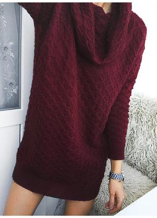 Стильное объемное вязаное платье - свитер винного цвета от h&m