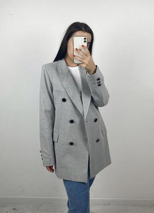 Ограничено! серый меланж пиджак жакет двубортный на покладке