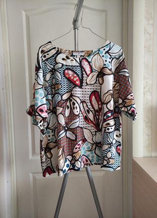 🌸🌼 льняная блуза абстрактный принт