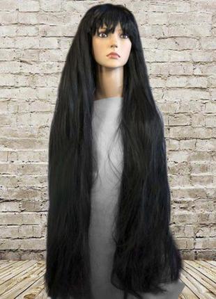 Парик маскарадный очень длинные 90см черные волосы + подарок