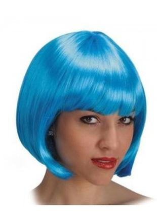 Парик маскарадный каре голубого цвета+подарок