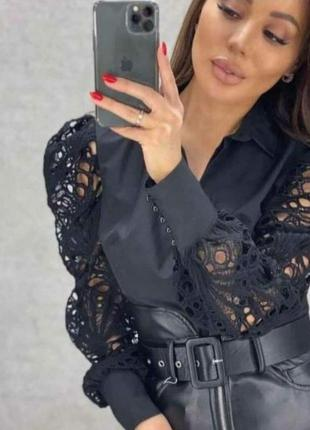 Шикарная блуза,рукава фонарики в кружево, люкс качество, размер л.