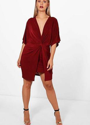 Boohoo платье бордо бордовое марсала бургунди винное по фигуре карандаш футляр большое