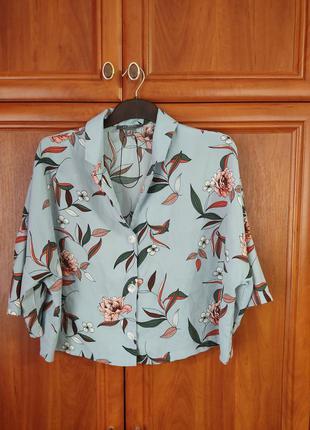 Блуза шелковая укороченная оверсайз