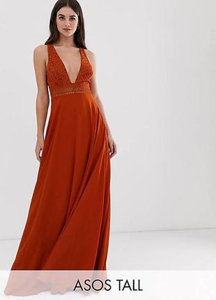 Asos асос платье оранжевое кирпичное терракотовое длинное макси большое с кружевом новое