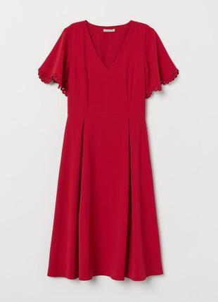 H&m платье с вырезом красное миди свободная юбка рукава с тиснением