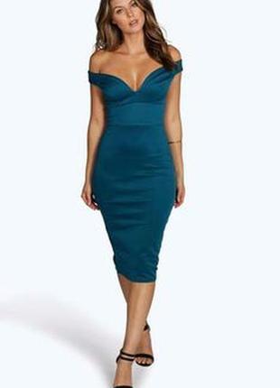 Boohoo платье по фигуре карандаш футляр миди новое с открытыми плечами бирюзовое зелёное синее