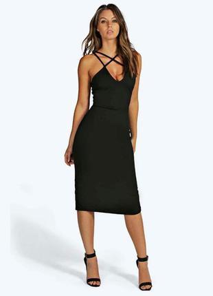 Boohoo платье чёрное по фигуре карандаш футляр миди на бретельках классическое
