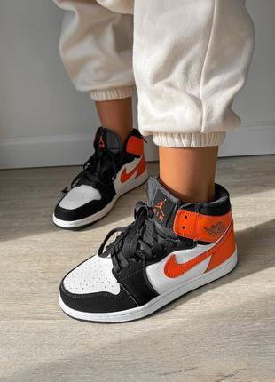 Женские кроссовки nike air jordan 1 high orange black