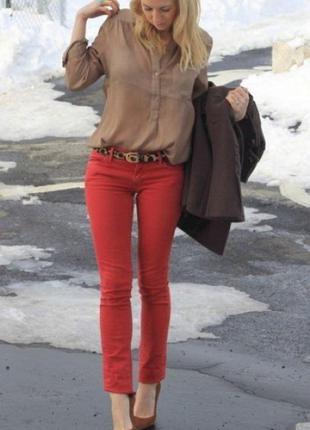 Джинси червоні zara woman