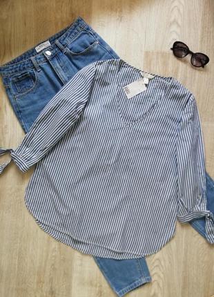 Натуральная блузка свободного кроя в полоску с объёмными рукавами, рубашка свободного кроя в полоску, сорочка, рубашка оверсайз