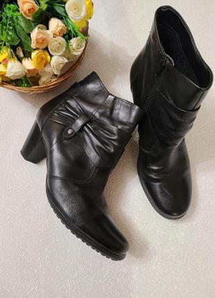 Ботинки женские на широкую ножку, натуральная кожа 42 размер