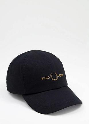Кепка fred perry embroidered logo twill блайзер бейсболка оригінал унісекс hw2640 чорна