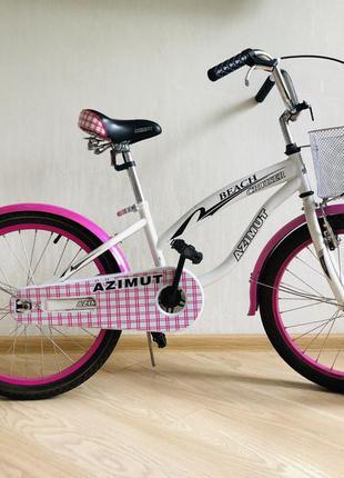 Детский двухколёсный велосипед azimut beach 20 дюймов розовый с корзиной