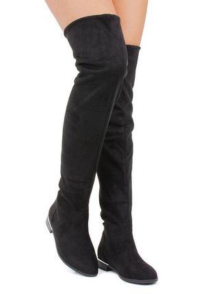 Женские ботфорты черные на низком каблуке