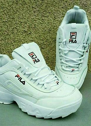 Fila кроссовки женские модные белые на высокой подошве размер 40