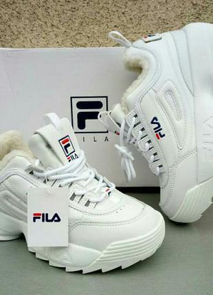 Fila кроссовки женские модные белые зимние на меху на высокой подошве размер 36