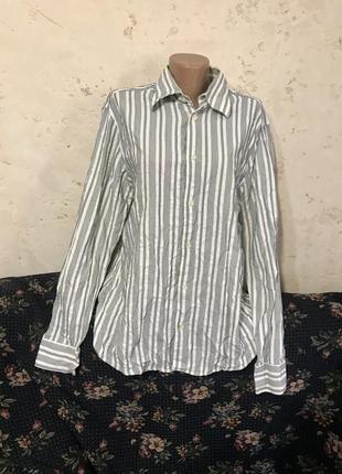 Рубашка белая в серую полоску длинная свободная h&m
