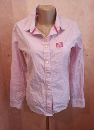 Розовая рубашка в полоску 100% хлопок