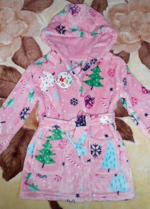 Фирменный плюшевый халат девочке 2-3 года, primark