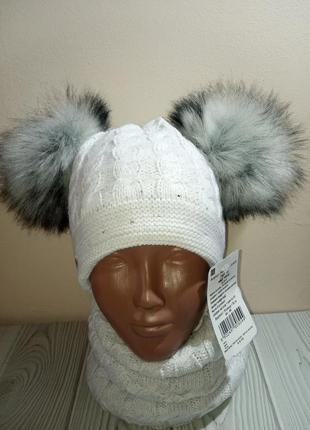 Шикарная шапка с бубонами хомут на флисе agbo