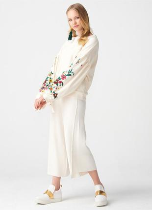 Белый свитшот oversize dilvin красивый орнамент/принт