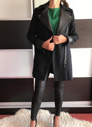 Пальто кожа и шерсть
