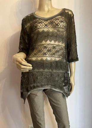Кружевная итальянская бутиковая блуза- варёнка /xl/