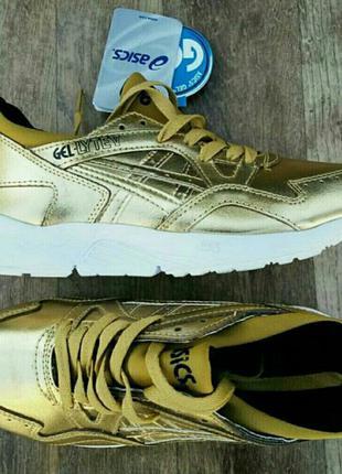 Asics gel кроссовки женские стильные эффектные золотые блестящие