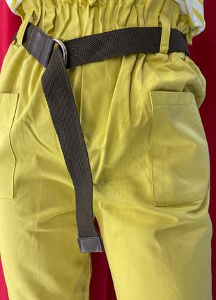 Женские штаны фасон - слаксы. горчичного цвета с карманами