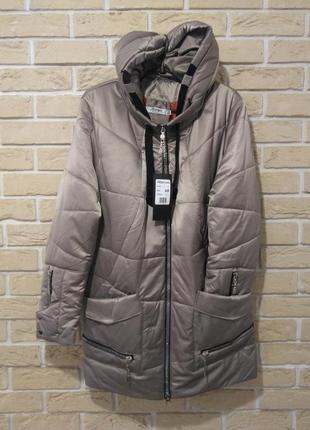 Р.58 легкая демисезонная куртка капюшон бежевая стиль модно батал