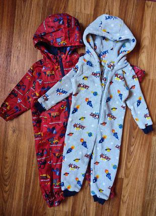 Плюшевая пижама кигуруми + комбинезон дождевик  на 12-18 мес
